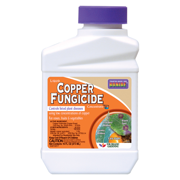 BONIDE® Liquid Copper Fungicide concentrate in a plastic bottle on a white, isolated background.
