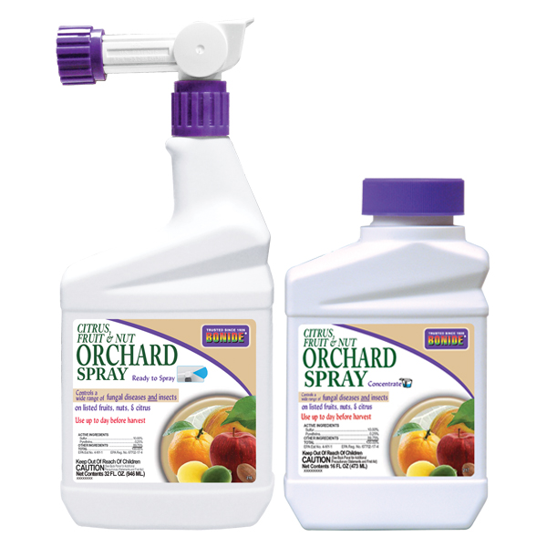 Differenty sizes of BONIDE® Citrus, Fruit & Nut Orchard Spray on a white, isolated background.