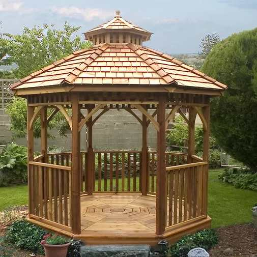 Bayside 10 Ft. W x 10 Ft. D Cedar Patio Gazebo in a park-like setting.