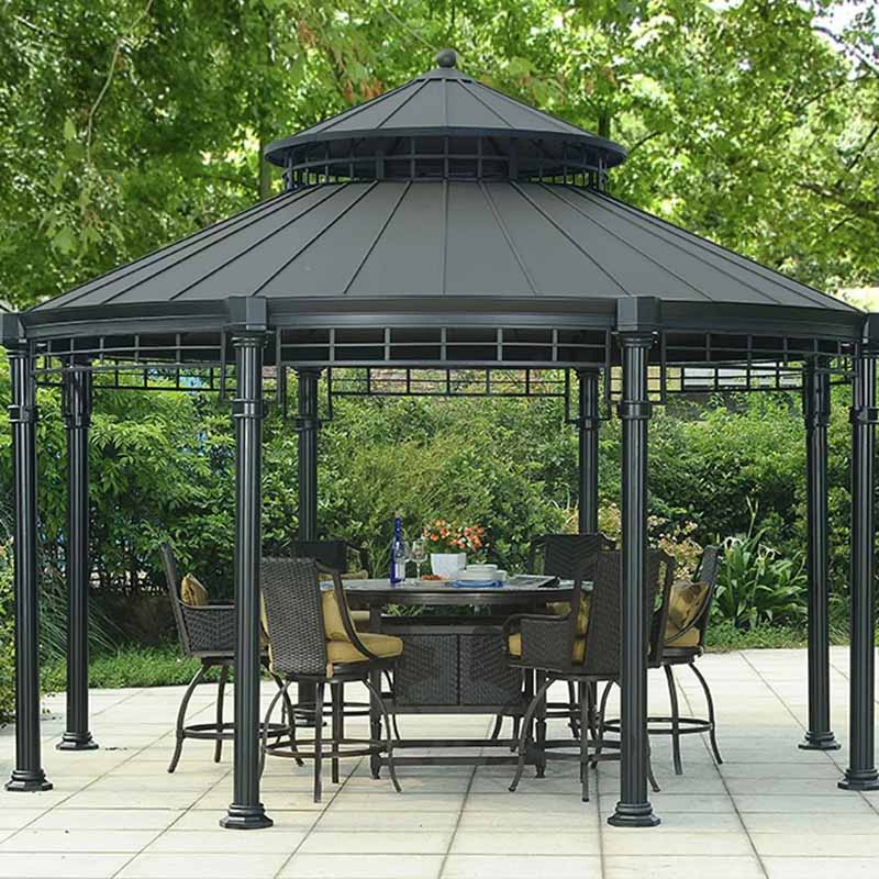Buffalo 14.5 Ft. W x 14.5 Ft. D Aluminum Patio Gazebo on a tiled backyard patio.