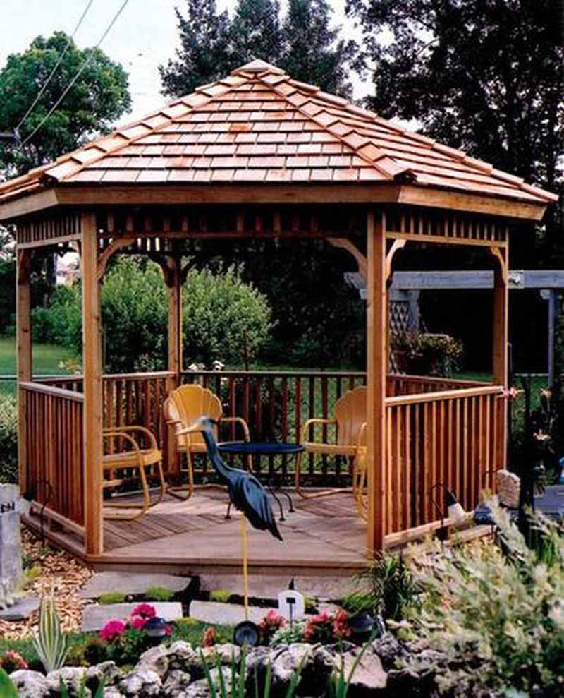 Cedarshed 8-Foot Hexagon Gazebo installed in a backyard setting.