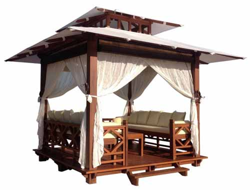 Exaco Bali 10 x 10 ft. Gazebo Retreat, oblique view, on a white, isolated background.