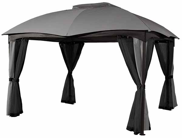 Sojag 10' x 12' Phuket Fabric Soft-Top Gazebo Outdoor Sun Shelter on a white, isolate background.