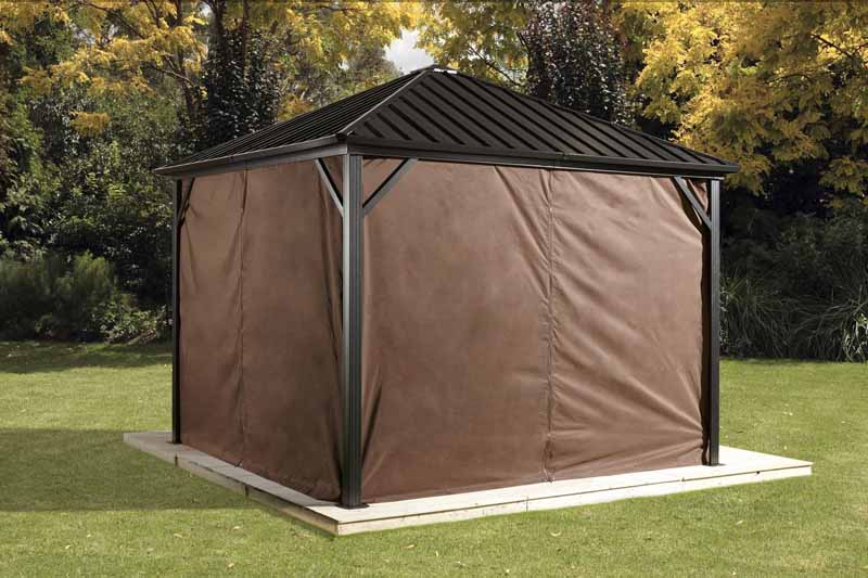 Sojag Dakota Gazebo Privacy Curtains installed.
