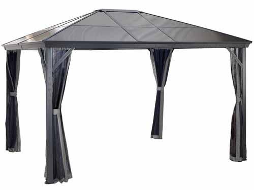 Verona 10 ft. x 14 ft. Aluminum Gazebo in Dark Gray on a white, isolated background.