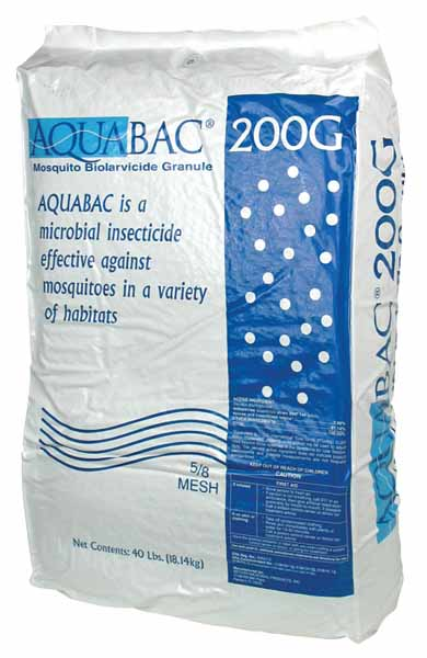 AQUABAC® 200G Granular Bti Mosquito Control on a white, isolated backround.