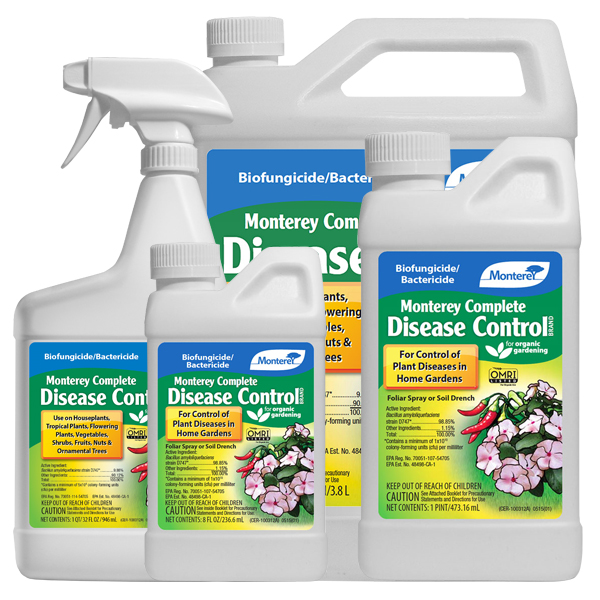 Monterey Complete Disease Control in different sized container on a white, isolated background.