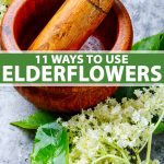 Harvest elderflowers with a wooden mortar and pestle.
