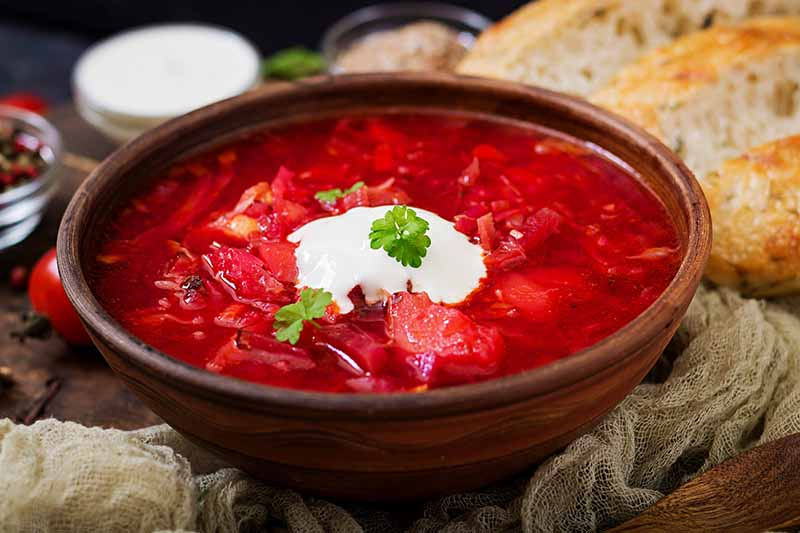 A close up of a wooden bowl with borscht the traditional Eastern European soup. Made from beets the liquid is a deep red color with a dollop of cream and herbs on the top. The background is rustic woven fabric and freshly sliced bread.