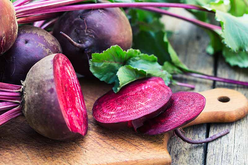 A wooden chopping board on a wooden surface, with a sliced beetroot and two whole ones behind. Some purple stems and foliage around the vegetables.