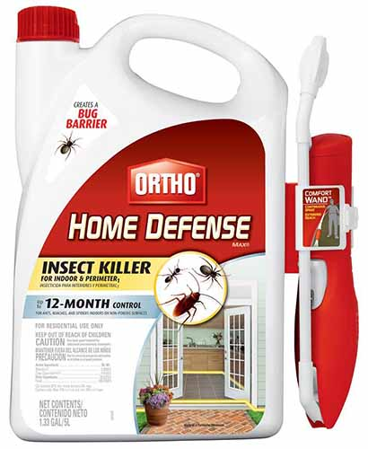 A close up of the packaging for Ortho home defense insecticidal spray for eradicating insect pests.