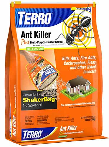 A close up of the packaging for Terro granular insect killer with orange background and blue, white, and black text.