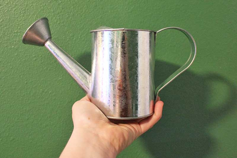 A close up of a small galvanized steel watering can held in the palm of a hand on a green background.