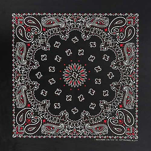 A close up of a bandana in black with paisley patterning in white and red.