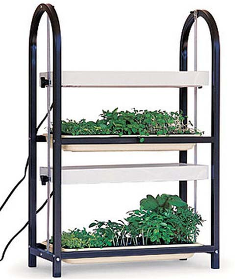 A close up of a two tier indoor gardening system. The upright unit has two trays containing seedlings, and above them are the lighting canopies with an adjustable metal rod on either side, on a white background.
