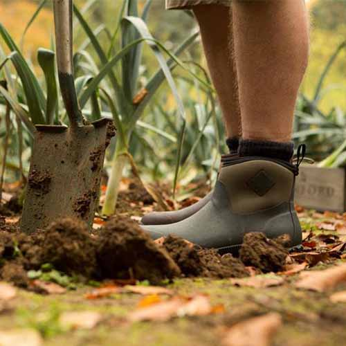 A close up of a man digging in the garden with a spade, wearing ankle-high shoes with leeks growing in the background in soft focus.