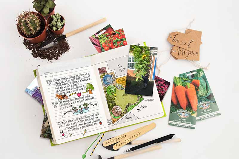 A top down picture of an open gardening journal with seed packets, some soil, gardening tools, and supplies, set on a white surface.
