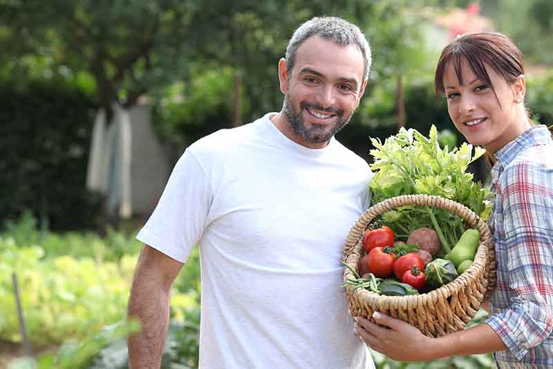 A man standing next to a woman holding a basket of freshly harvested vegetables on a sunny day, with a garden scene in soft focus in the background.