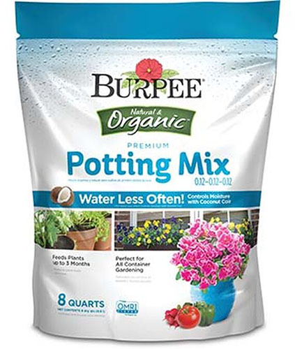 A close up of the packaging of a bag of potting mix for starting seeds in containers.