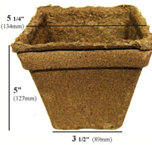 A close up of the dimensions of the Cow Pot biodegradable nursery pots on a white background.