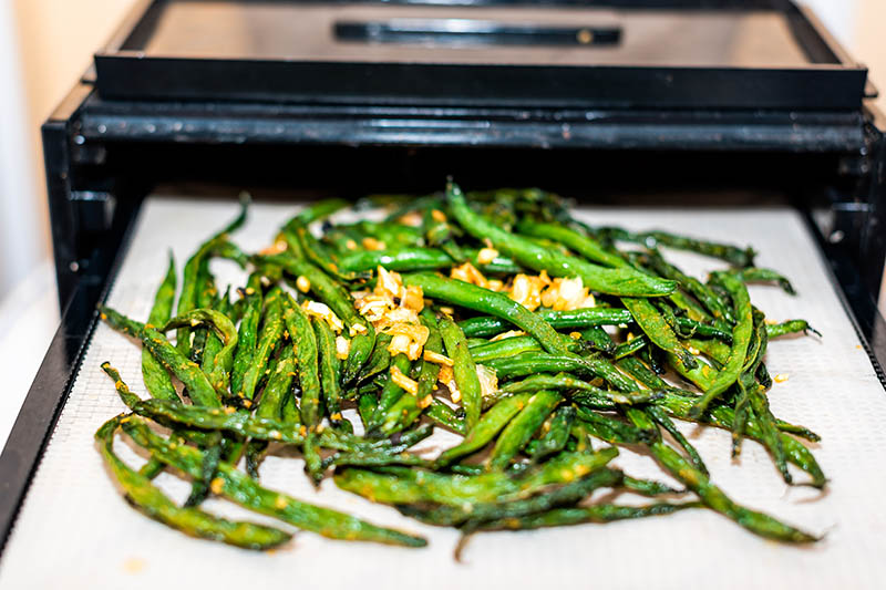 A close up of a tray of bush beans about to be placed in a dehydrator.