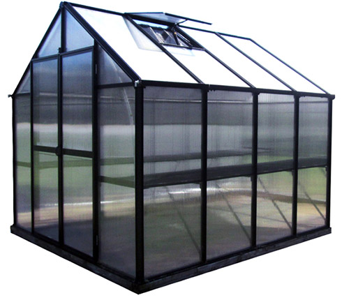 A close up of a large greenhouse with a black frame on a white background.