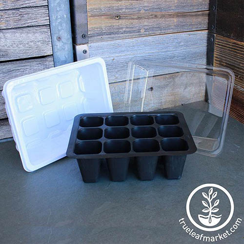 A close up of a black plastic seed starting tray set on a gray surface with a white plastic drip tray and a transparent humidity dome, with a wooden fence in the background. To the bottom right of the frame is a white circular logo with text.