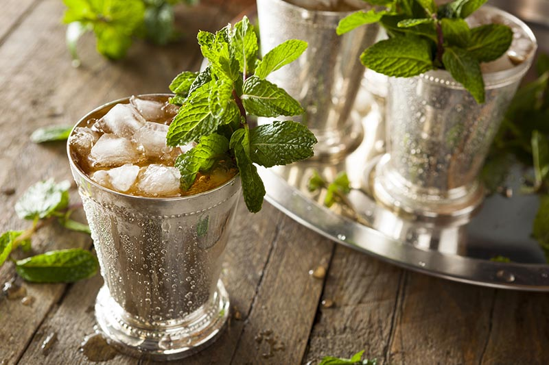 A close up of a metal beaker containing a mint Julep cocktail with ice and fresh leaves, set on a wooden surface with a silver serving dish in the background in soft focus.