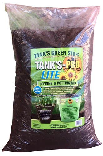 A close up of the packaging of Tank's- Pro Lite Seeding and Potting Mix, in a plastic bag.