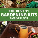 A collage of photos showing different types of garden kits.