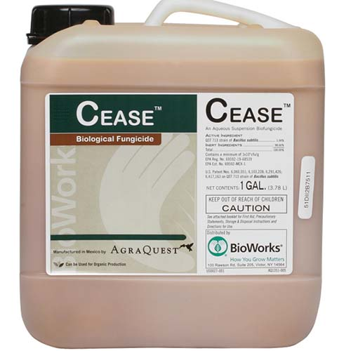 A close up of the packaging of a container of Cease biological fungicide for use on plants, on a white background.