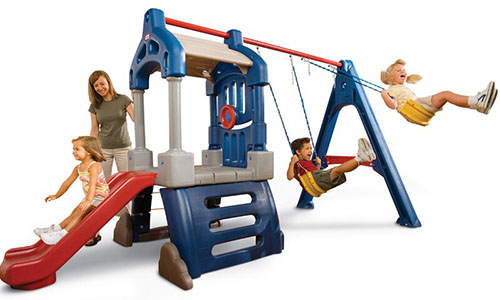 A plastic backyard swing set with three children playing, set on a white background.