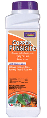 A close up of the packaging of Bonide copper fungicide on a white background.
