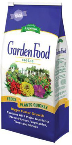 A close up of the packaging of an all purpose 10-10-10 granular garden food.
