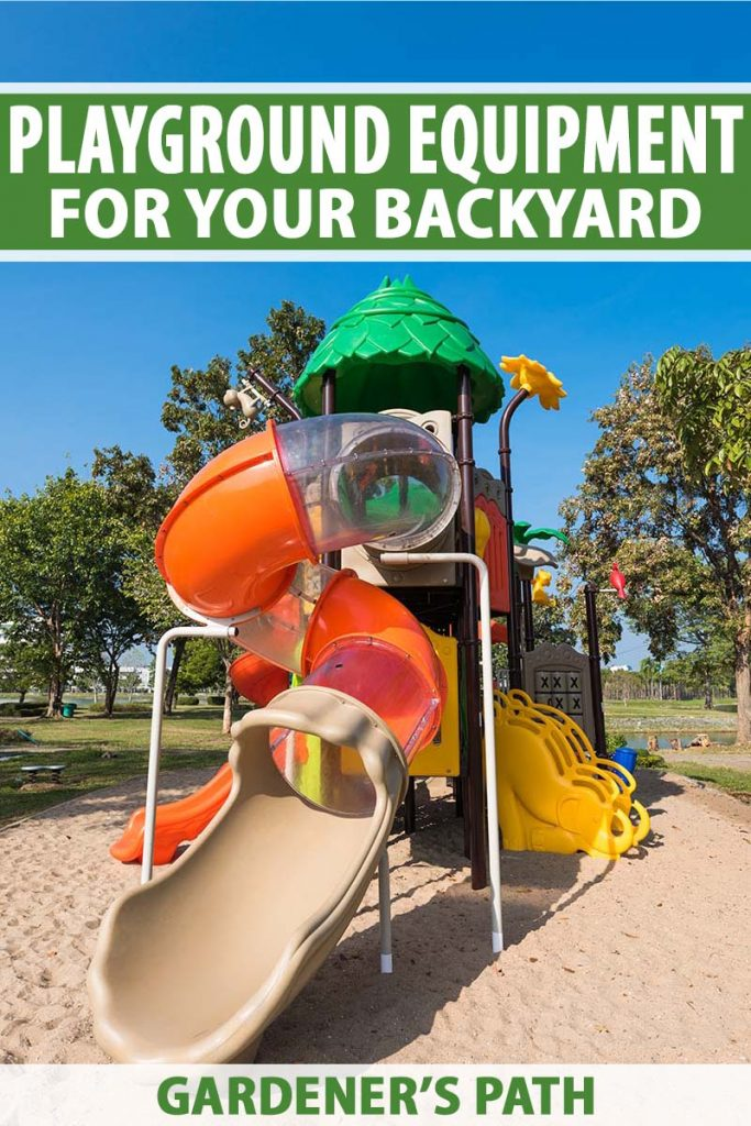 A vertical picture of a children's playground on a summer day in bright sunshine with trees and blue sky in the background. To the top and bottom of the frame is green and white text.
