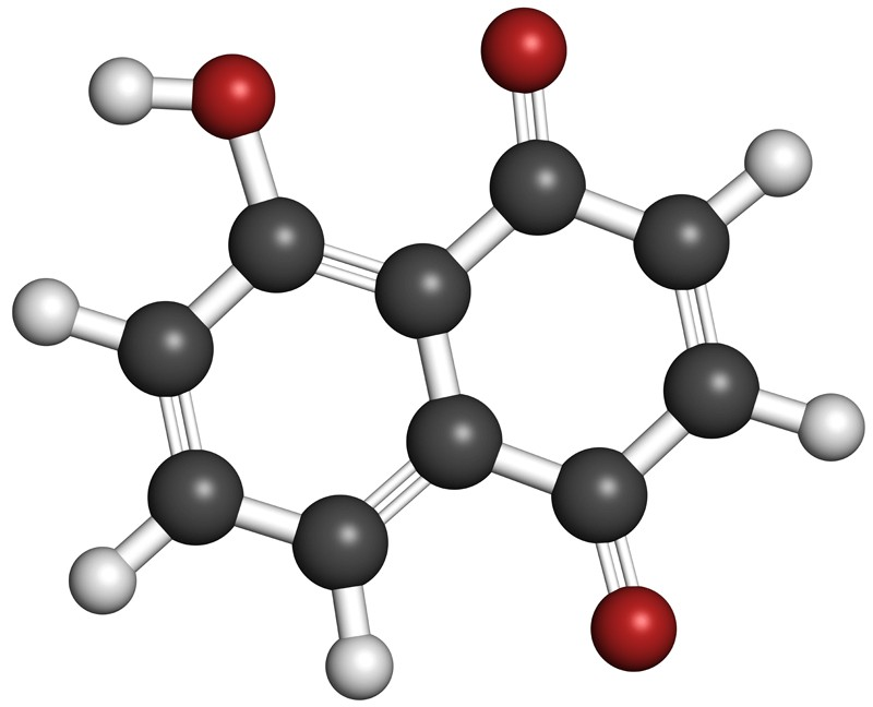 3D rendering of a juglone molecule.