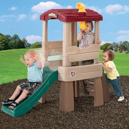 A close up of the Step2 Lookout Treehouse Climber Playset for young children made from plastic.