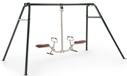 A metal backyard Gym Dandy Tilt a Swing set pictured on a white background.