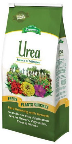 A close up of the packaging of a high nitrogen urea product.