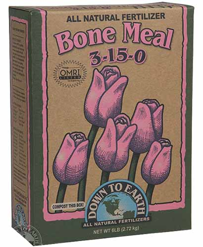 A close up of the packaging for all natural bone meal fertilizer from Down to Earth.