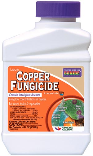 A close up of the packaging of copper fungicide from Bonide, on a white background.