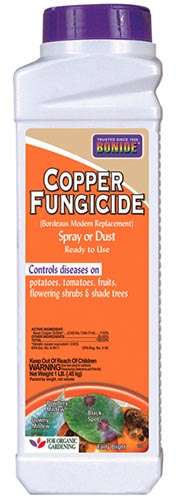 A close up of the packaging of a Copper Fungicide, to use for treating plant diseases.
