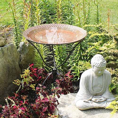 A close up of a copper plate mounted on a stand and filled with water set in the garden.