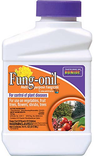 A close up of the packaging for Fung-onil, a multi-purpose fungicide for treating plant diseases.