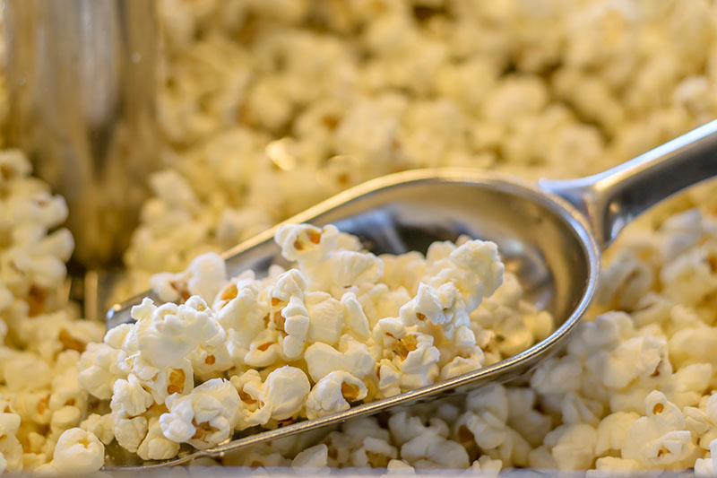 A close up of a metal scoop digging into freshly popped popcorn, fading to soft focus in the background.