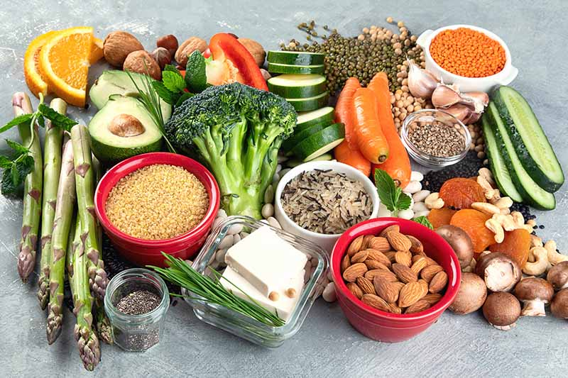 A close up of a variety of fruits, vegetables and nuts, to show the plant based protein sources to include as part of a healthy diet.