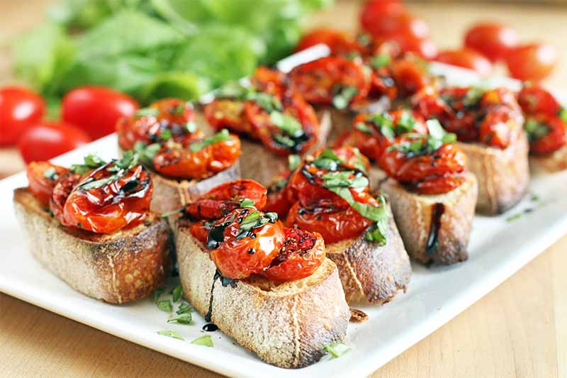 A close up of freshly baked crostini topped with roasted tomatoes and basil, on a white plate, set on a wooden surface.