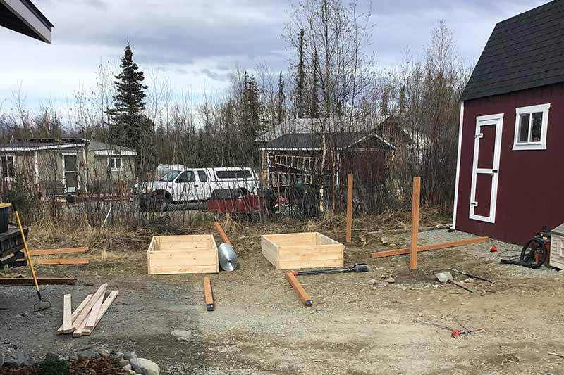 Two raised beds in a backyard with the tools and supplies required for constructing a fence to keep moose out. To the right of the frame is a dark red house, and in the background are cars and residences in soft focus.