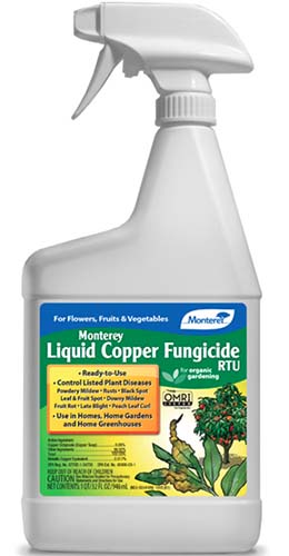 A close up of the packaging of Monterery Liquid Copper Fungicide on a white background.