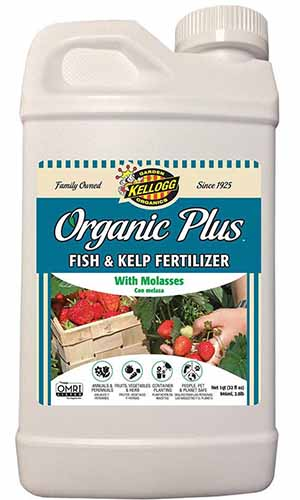 A close up of the packaging of Organic Plus Fish and Kelp Fertilizer on a white background.